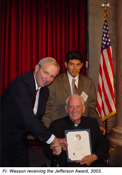 Fr. Wasson receives the 2003 Jefferson Award
