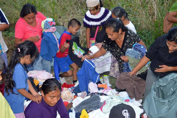 Clothing donations are distributed