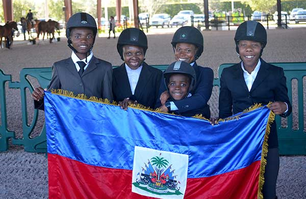 Participants with the Haitian flag.
