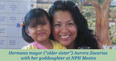 """Hermana mayor (""""older sister"""") Aurora Zacarias with her goddaughter at NPH Mexico"""