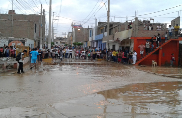 A flooded street in Peru