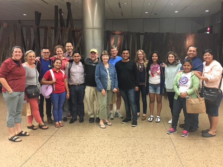The new students and their host families at the airport in Seattle
