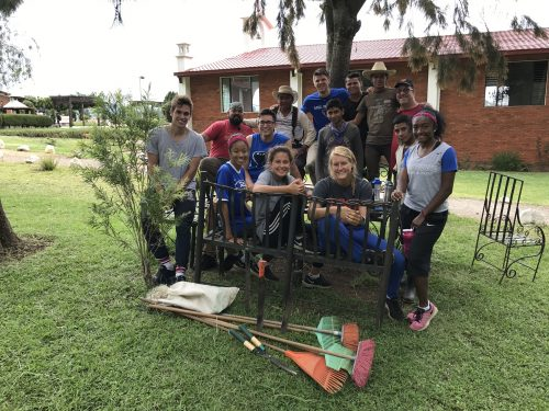 Nine DePaul student atheletes worked to complete landscaping projects at NPH Guatemala. (Photo courtesey of Robert Sakamoto)