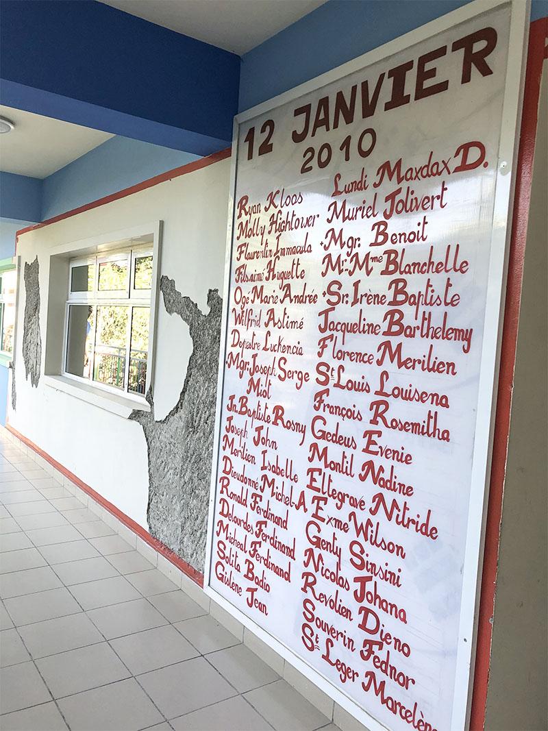 Memorial Wall at St. Damien Pediatric Hospital, Haiti